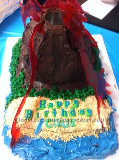 My grandson wanted a volcano cake for his birthday, but not just any volcano cake: he wanted his to ERUPT! So, after spending several hours searching t Volcano Cake, Erupting Volcano, Fondant Letters, Cool Birthday Cakes, Birthday Ideas, Birthday Parties, Science Party, Red Food Coloring, Chocolate Icing