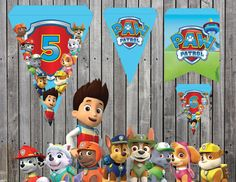 Paw Patrol Birthday banner BLUE Tracker and Everest are here Birthday Flags, Birthday Numbers, Printable Banner, Party Printables, Different Flags, Popcorn Favors, Color Effect, Colour, Paw Patrol Birthday