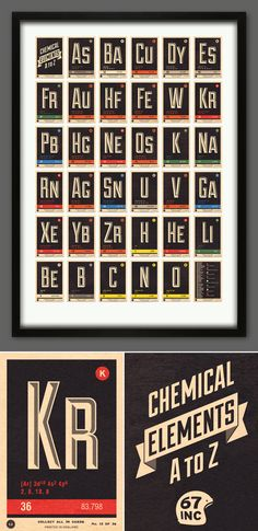 Chemical Elements A to Z Alphabet print - 67 Inc - 67 Inc - New print launched today  The third in our 'Scientific' series, 'Chemical Elements A to Z' is a collection of elements from the Periodic Table presented as an alphanumeric print. We wanted to create the look of a vintage wall chart that may have hung in a school or laboratory.  #periodictable #chemistry #retro #vintage #interiors #67inc #chemical #elements #AtoZ #alphabet #print