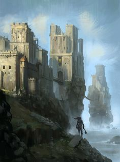 The Greyjoy's castle on the island of Pyke.--Illustrations by - Pondly Fantasy City, Fantasy Castle, Fantasy Places, Medieval Fantasy, Sci Fi Fantasy, Fantasy World, Real Manga, Game Of Thrones Castles, Game Of Thrones Artwork