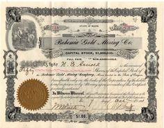 1901 Bohemia Gold Mining Company Stock Certificate-50 Shares Maine