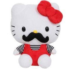 "Hello Kitty Mustache 7"" Plush 