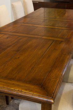French Oak Provincial Panel Table - Details