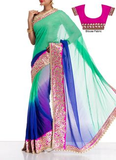 Turquoise Georgette Saree