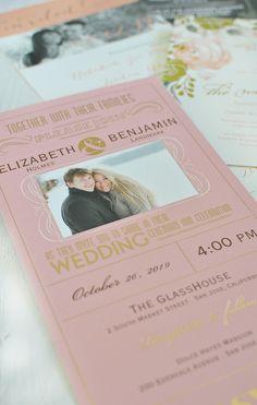 Pink and gold foil Seal and Send wedding invitation. #pinkandgoldwedding