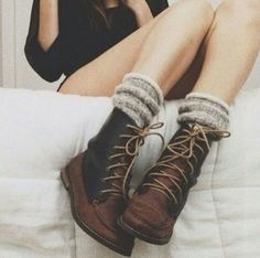 Brown shoes + stylish knitted socks - Dressing In-between Winter and Spring Ugg Boots, Combat Boots, Shoe Boots, Sperry Boots, Fall Boots, Ankle Shoes, Boots Sale, Socks For Boots, Shoes And Socks