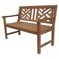 Artfully crafted of teak wood, this charming bench brings rustic style to your veranda or sunroom.    Product: Bench