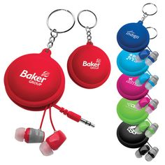 Macaroon Cord Winder with Earbud Fun color, flexible silicone macaroon shaped earbud holder with keyring. Matching color marshmallow shaped 2-tone earbuds that wrap inside the case. Small and compact - great for travel!