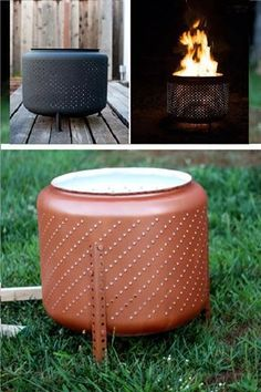 Vuurmand in de tuin : oude wasmachine trommel. Build a portable fire pit from an old washing machine drum! via The Flourishing Abode Metal Fire Pit, Diy Fire Pit, Fire Pit Backyard, Backyard Camping, Outdoor Projects, Diy Projects, Washer Drum, Washing Machine Drum, Washing Machines