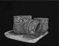 Scratchboard Woven Baskets by PattiHoffert on Etsy, $20.00