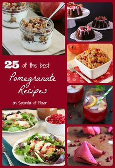 25 of the Best Pomegranate Recipes! Not sure how to eat a pomegranate? Try one of these recipes. Pomegranate Recipes, Fruit Recipes, Whole Food Recipes, Healthy Recipes, Healthy Treats, Drink Recipes, Dessert Recipes, Slow Food, Healthy Cooking