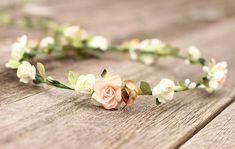 Peach Headpiece Rustic Flower Crown Ivory Rose Hair