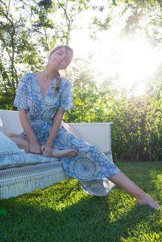 Petal Almeria Blue Maxi Wrap Dress Ootd Fashion, New Fashion, Fashion Outfits, Australian Boutique, Mombasa, Rose Boutique, Blue Maxi, Maxi Wrap Dress, Wander