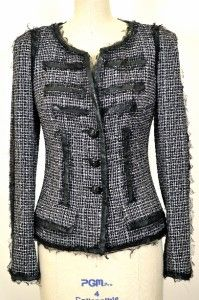 Chanel 09p Classic Fringed Tweed Jacket New 38 Blazer Leather Trim