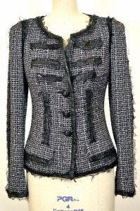 Chanel 09p Classic Fringed Tweed Jacket New 38 Blazer Leather Trim