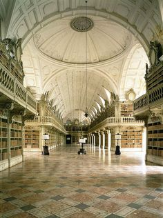 Beautiful Libraries and Bookshops...The Library of Mafra Convent, Lisbon Region, Portugal, photo via visitlisboa.com