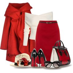 Red Skirt by cavell on Polyvore featuring moda, Corinna Caon, Yumi, Christian Louboutin, Alexander McQueen and Etro