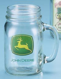 John Deere Trademark Drink Jar by M. Cornell Importers. $10.99. 16 ounce canning jar shape with handle. The new official John Deere trademark appears in the official colors on one side of the drinking jar in a high-fired decoration. Affordably priced. Official Licensed Product. Caution: not for food storage.