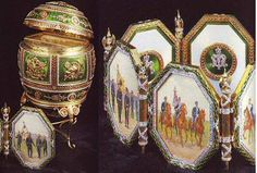 1912 Napoleonic Egg was a gift from Nicholas II to Maria Fyodorovna.  It is made of gold, green and red enamel, diamonds with the interior of velvet and satin, The surprise was a miniature screen of the six regiments that were a part of the victory at Borodino in 1812. It currently is in the Matilda Geddings Gray  Foundation, New Orleans Museum of Art, Louisiana.