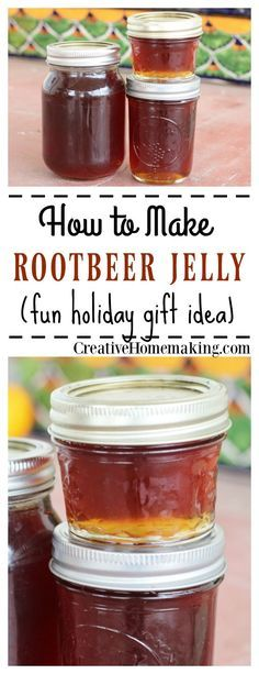 Root beer jelly - a delicious treat and homemade gift Jelly Recipes, Jam Recipes, Canning Recipes, Drink Recipes, Recipies, Easy Recipes For Desserts, Recipes Dinner, Healthy Recipes, Jelly Fun