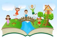 arboles animados: libro abierto con los niños y el paisaje de verano, ilustración vectorial Vectores
