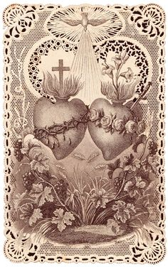 O Sacred Hearts of Jesus and of Mary, truly worthy of possessing all hearts and of reigning over humans and angels, you shall be my models; I will try to copy you. May my heart live always in the Hearts of Jesus and Mary, and may their hearts live in. Catholic Art, Religious Art, Compass Tattoo, Graphic Design Illustration, Illustration Art, Catholic Wallpaper, Sacred Heart Tattoos, Jesus E Maria, Herz Tattoo
