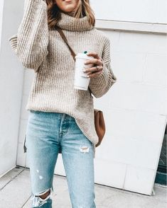Outfits Herbstoutfit, Pullover unter 75 US-Dollar, zerrissene Jeans unter 100 US-Dollar Why are Peop Style Outfits, Casual Outfits, Cute Outfits, Fashion Outfits, Fashion Trends, Fashion Jeans, Style Fashion, Fall Winter Outfits, Autumn Winter Fashion