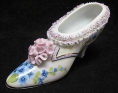 Limoge China Fancy Porcelain Shoe with Flower Design