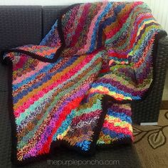 Crochet Corner-to-Corner Scrap Yarn Blanket – Free Pattern | The Purple Poncho