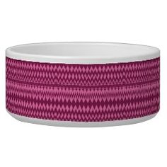 Bold Girly Magenta Pink Chevron Tribal Pattern Dog Food Bowls