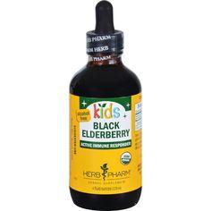 Herb Pharm Black Elderberry Organic Glycerite Active Immune Responder Kids 4 Oz