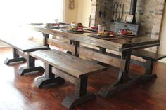 Handcrafted Farmhouse Dining Set With Table And 4 Benches - Solid Wood - 8 Ft…