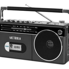 bluetooth technology Listen to your favorite tunes on this retro boombox. It has a cassette player and radio for nostalgia, but Bluetooth technology brings it up to date. From Vic Cassette Recorder, Boombox, Listening To You, Bluetooth, Nostalgia, Retro, Mini, Type, Record Player