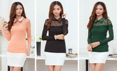 DR000403 Slim autumn shirts lace bottoming shirt for women