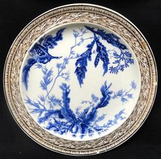 Antique Brown Westhead Moore /& Co Sylvan Blue And White Landscape Plate Transferware Staffordshire England 19th Century