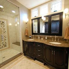 Clerestory Design, Pictures, Remodel, Decor and Ideas. Windows above the vanity mirrors.