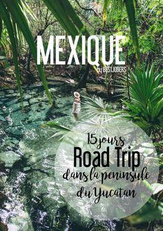 Road Trip 15 jours Peninsule du Yucatan, Mexique - Mode Tutorial and Ideas Mexico Destinations, South America Destinations, Road Trip Destinations, South America Travel, North America, Cruise Travel, Travel And Tourism, Travel Tips, Travel Hacks