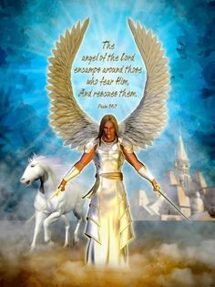 The angel of the Lord encampeth round about them that fear him, and delivereth them. Christian Artwork, Christian Pictures, Angel Warrior, Prayer Warrior, Scripture Art, Bible Scriptures, Bible Qoutes, Quotes, Prophetic Art