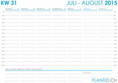 Wochenkalender 2015 im Querformat als PDF herunterladen und ausdrucken | PLANDO.CH #Kalender #Agenda