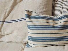 blue & while ticking pillows