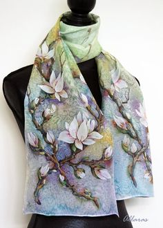 Periwinkle  Mint Green Original Hand Painted Silk Scarf by Allaras