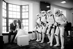 How to have the 501st appear at your wedding.    Photographer David Harbutt/Groom: Craig Ridoux (TC-3447)/Bride: Stef Ridoux (DZ-14712)