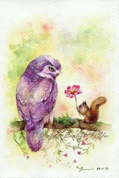 Coruja e esquilo