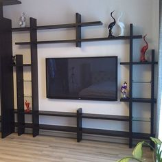 This Pin was discovered by Interest Hub Living Room Partition Design, Room Partition Designs, Living Room Tv Unit Designs, Tv Wall Design, Wall Shelves Design, Home Room Design, Home Office Design, Home Decor Furniture, Diy Home Decor