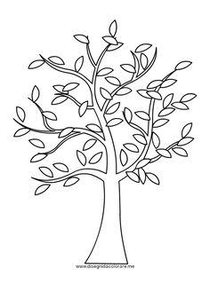 albero da colorare | Albero con foglie da colorare | Disegni da colorare