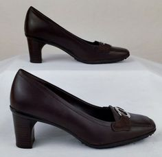 ROCKPORT 6 Medium Women's Brown Leather Heels  Used  #Rockport #PumpsClassics