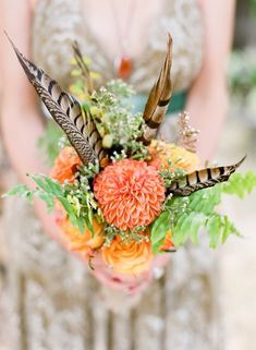 Valley Garden Wedding feather and dahlia wedding bouquet -- perfect for fall // photo by feather and dahlia wedding bouquet -- perfect for fall // photo by Bouquet Bride, Dahlia Wedding Bouquets, Feather Bouquet, Fall Bouquets, Bridesmaid Bouquet, Wedding Flowers, Dahlia Bouquet, Bridesmaids, Autumn Bride