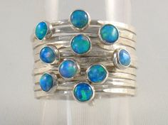 Multiply hammered silver bands set with opalites stones-Sparkle Coronation Ring.Stackable rings.s