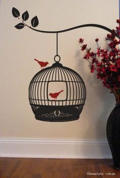 Hanging BIRD CAGE - Vinyl wall decal sticker art removable- Made to Order - Classy elegant modern Chic via Etsy Wall Decal Sticker, Vinyl Wall Decals, Wall Stickers, Wall Painting Decor, Wall Decor, Be Wolf, Hanging Bird Cage, Hanging Wire, Antique Bird Cages