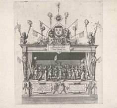 Anonymous | Het toneel met het verbond van David en Jonathan, 1582, Anonymous, Hans Vredeman de Vries, 1582 | Het tweede toneel in de Drie Hoeken bij de Huidevetterstraat van de rederijkerskamer De Violieren met een voorstelling van het verbond tussen David en Jonathan, metafoor voor het verbond tussen Oranje en Anjou. Onderdeel van de beschrijving van de intocht van de hertog van Anjou te Antwerpen, 19 februari 1582.